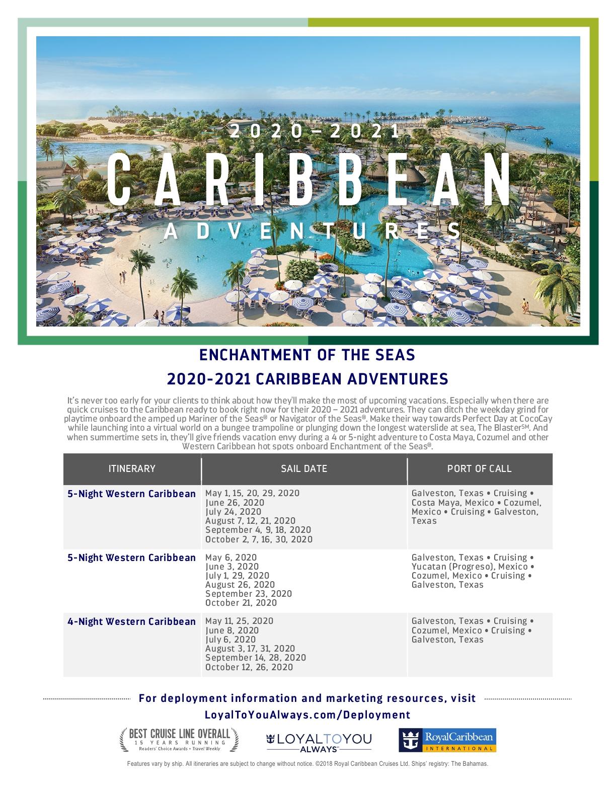 Enchantment of the Seas 2020/2021 navegando de San Juan, PR